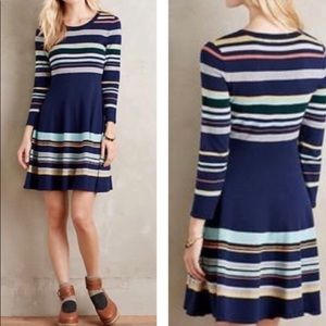 Moth Striped Knit Fit and Flare Sweater Dress XS